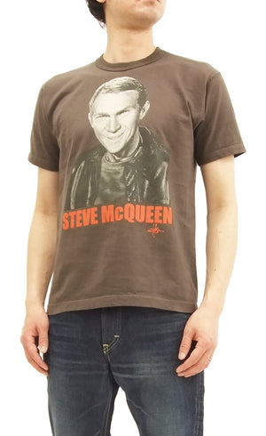 TOYS McCOY Men's Slim fit T-shirt Steve McQueen Graphic Short Sleeve Tee TMC1804 Faded-Darck-Charcoal