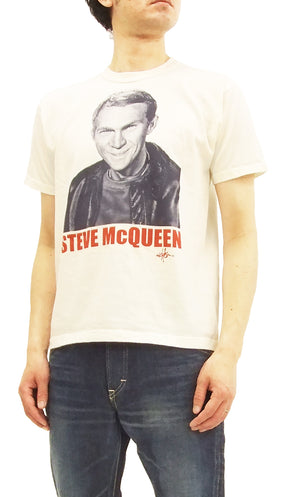 TOYS McCOY Men's Slim fit T-shirt Steve McQueen Graphic Short Sleeve Tee TMC1804 Off-White