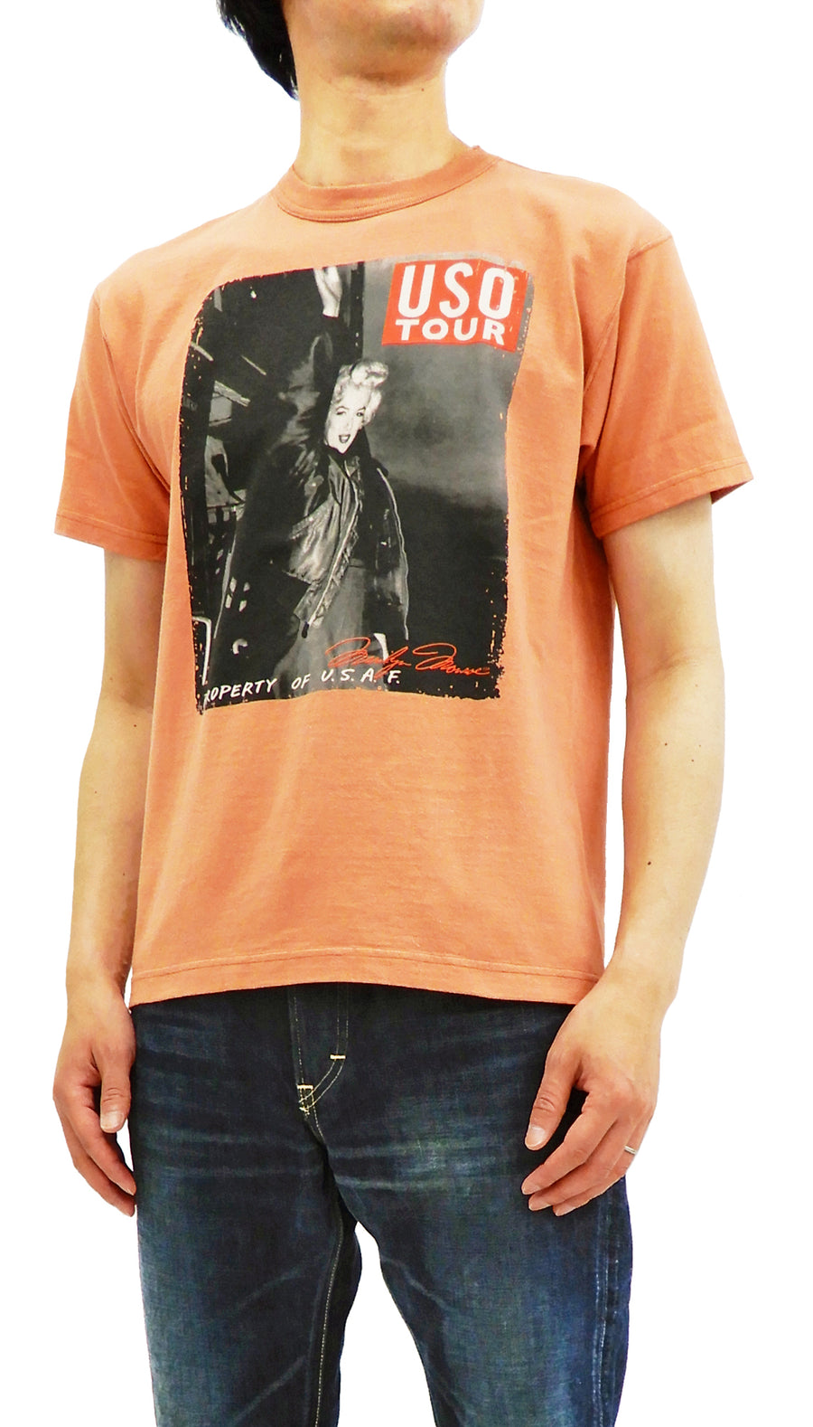 TOYS McCOY T-shirt Men's Short Sleeve T-shirt Marilyn Monroe Graphic Tee TMC1820 Faded Carrot
