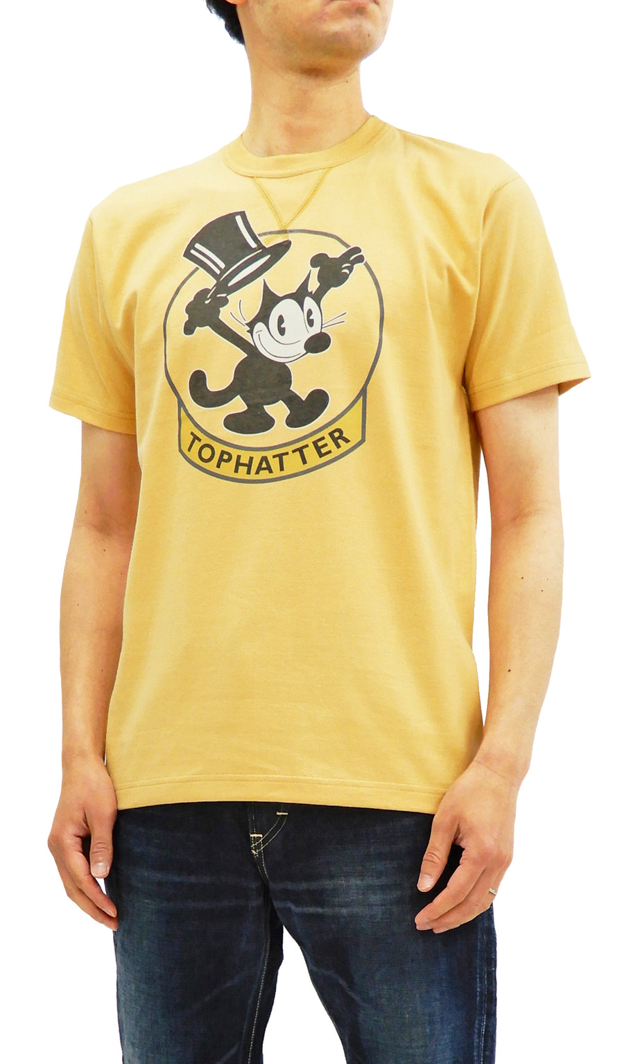 TOYS McCOY T-Shirt Felix the Cat Men's Short Sleeve Tee TMC1838 Yellow