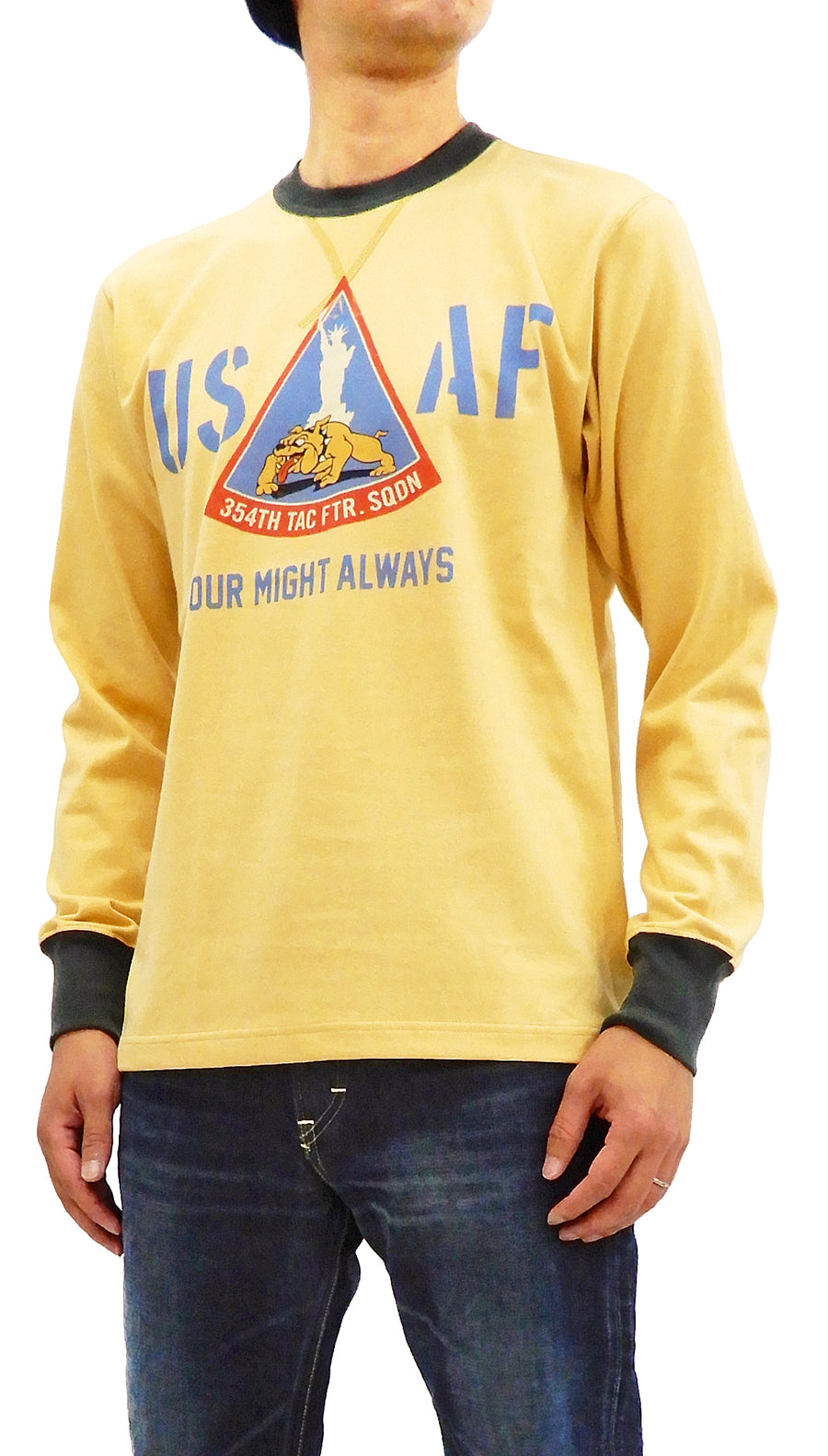 TOYS McCOY Men's Long Sleeve T-shirt US Air Force Military Tee TMC1853 Faded-Yellow