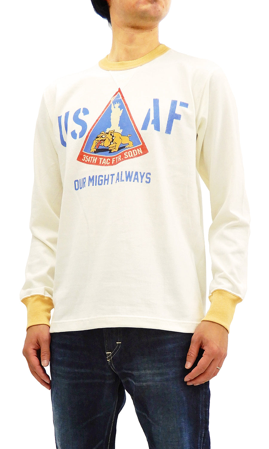 TOYS McCOY Men's Long Sleeve T-shirt US Air Force Military Tee TMC1853 Off-White