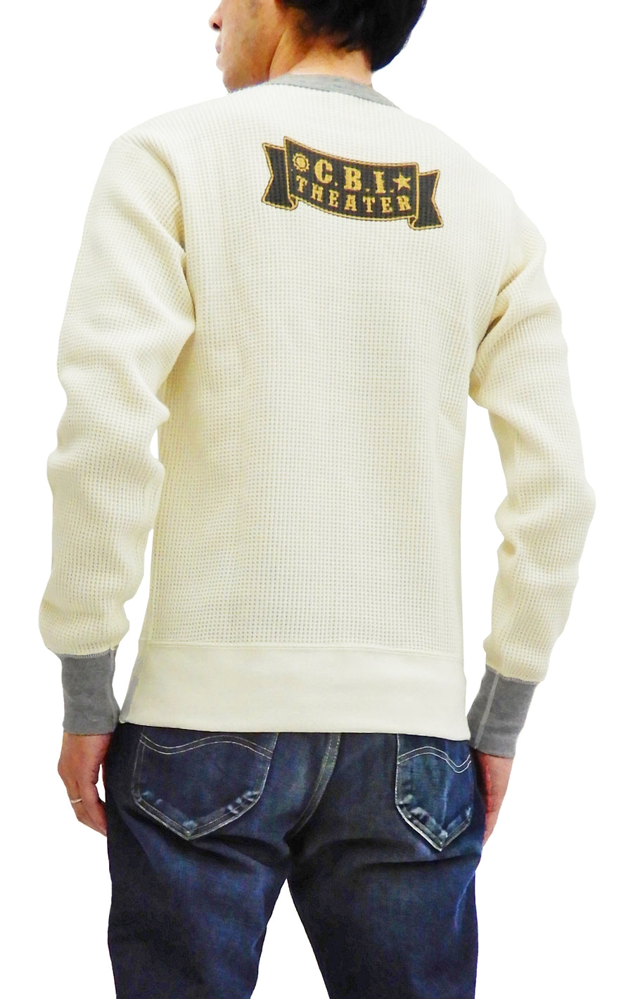 TOYS McCOY Men's Waffle-Knit Long Sleeve Thermal T-Shirt Flying Tigers TMC1855 Off-White