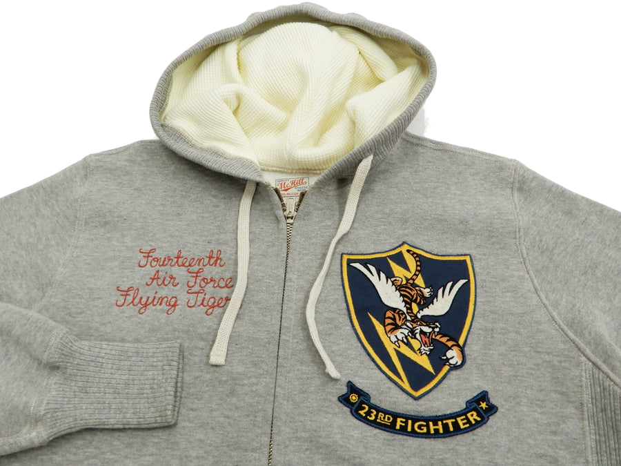 TOYS McCOY Men's Zip Hoodie Flying Tigers Hooded Sweatshirt TMC1858 Ash-Gray