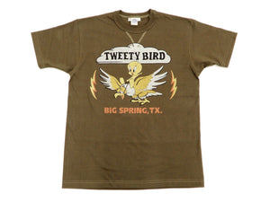 TOYS McCOY T-Shirt Men's Short Sleeve Loop-wheeled Tee Tweety Military TMC1909 Faded-Dark-Charcoal