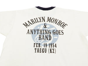 TOYS McCOY T-shirt Men's Short Sleeve Marilyn Monroe Loop-wheeled Tee TMC1921 Off-WhIte/Navy-Blue