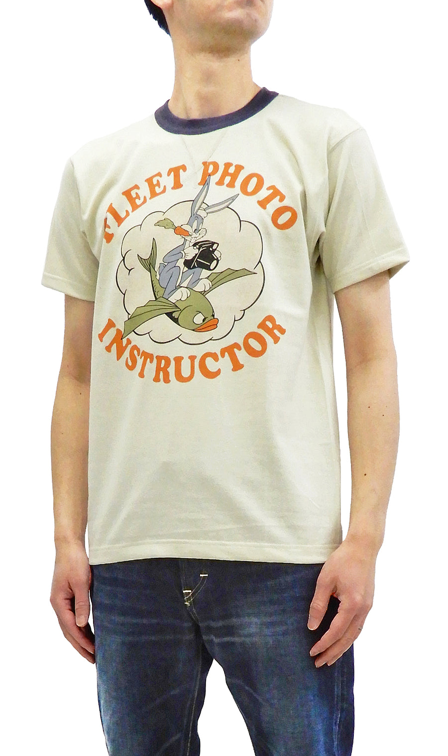 TOYS McCOY T-shirt Men's Bugs Bunny Military Short Sleeve Tee TMC2017 Ivory