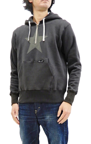 TOYS McCOY Half-zip Hoodie Men's Durable One Star Hooded Sweatshirt TMC2054 Faded-Black
