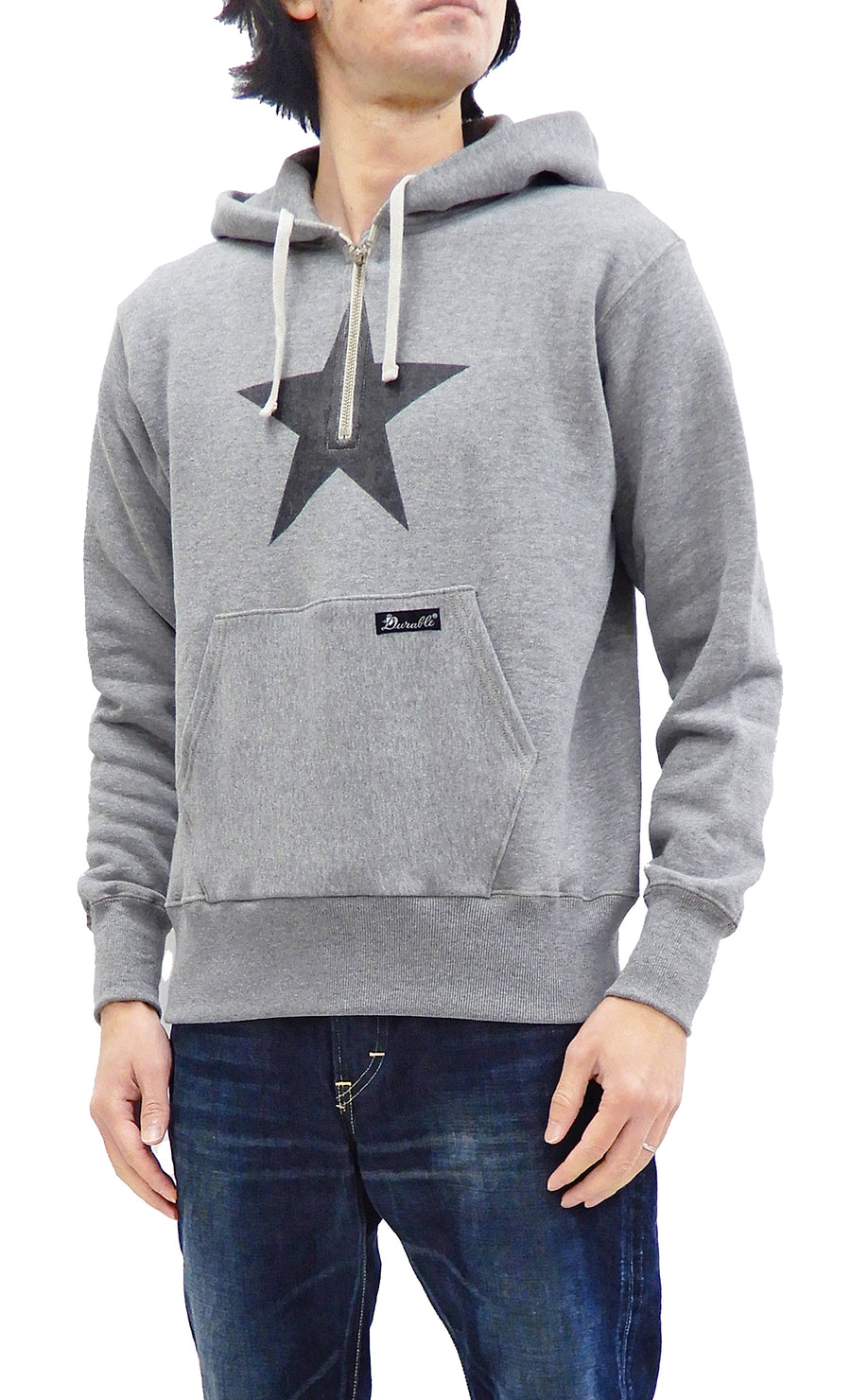 TOYS McCOY Half-zip Hoodie Men's Durable One Star Hooded Sweatshirt TMC2054 Ash-Gray