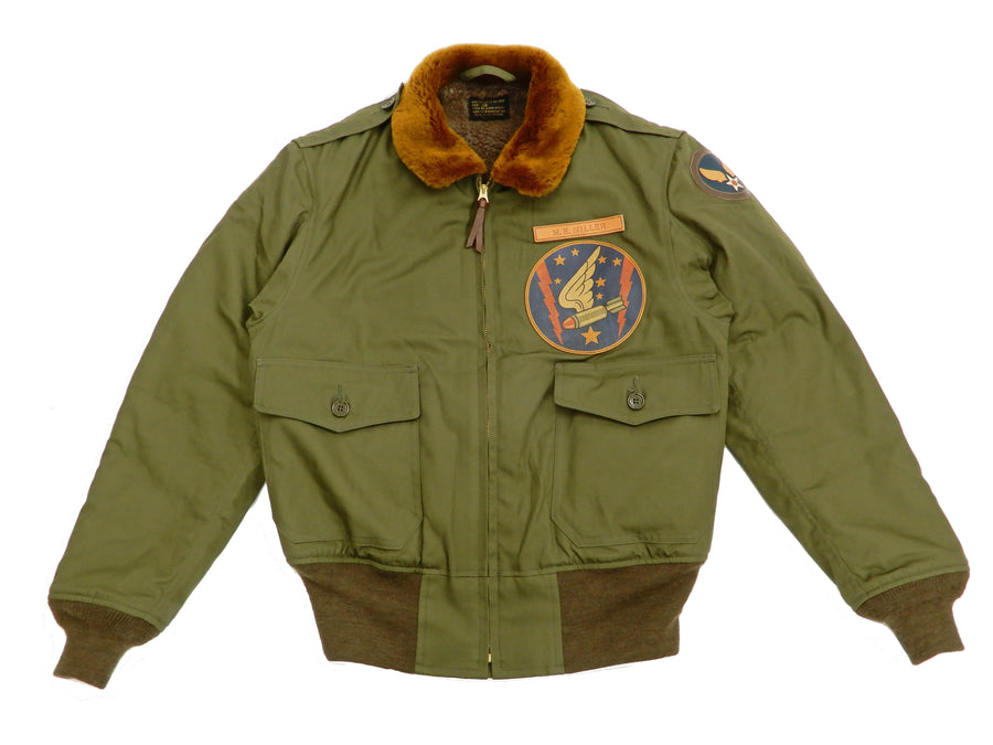 TOYS McCOY Jacket Men's Painted USAAF B-10 Flight Jacket WWI Nose Art Pin Up TMJ1829 Olive