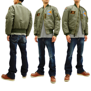 TOYS McCOY Men's MA-1 Flight Jacket with Yankee Air Pirate Patch TMJ1831 Sage Green