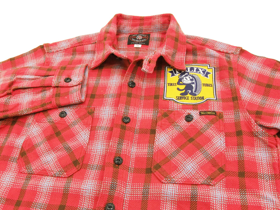 TOYS McCOY Checked Work Shirt TMC1612 Felix the Cat Men's Long Sleeve Button Up Shirt Red
