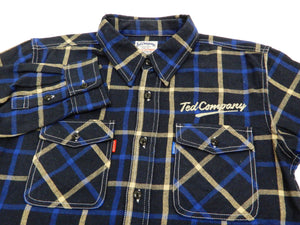 Tedman Custom Embroidered Plaid Flannel Shirt Men's Long Sleeve Shirt TNS-700 Navy/Blue