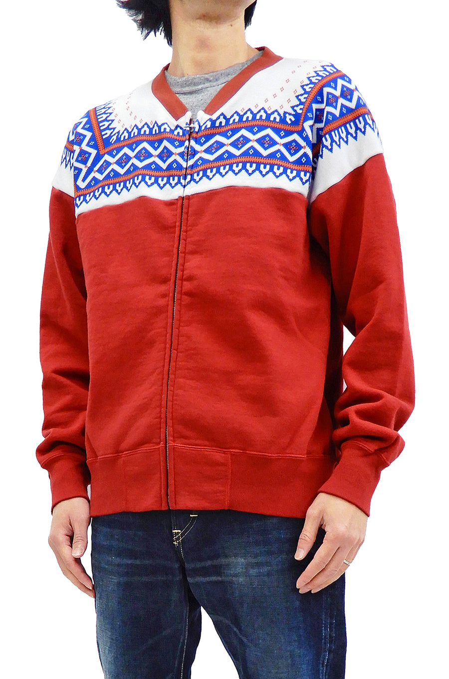 Whitesville Men's Zip-up Sweatshirt No Hood with Nordic Pattern Printed Panel WV68618 Red