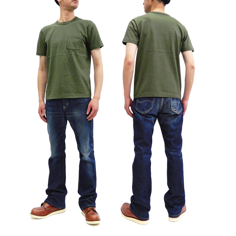 Whitesvill Plain Pocket T-Shirt Men's Super Heavyweight Short Length Tee WV77516 Olive