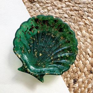 Seashell Trinket Tray in Deep Forest and Gold