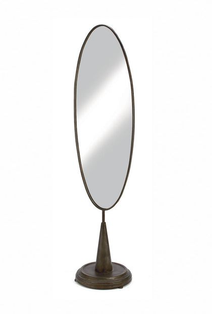 X-Large Industrial Oval Mirror - Bronze Satin