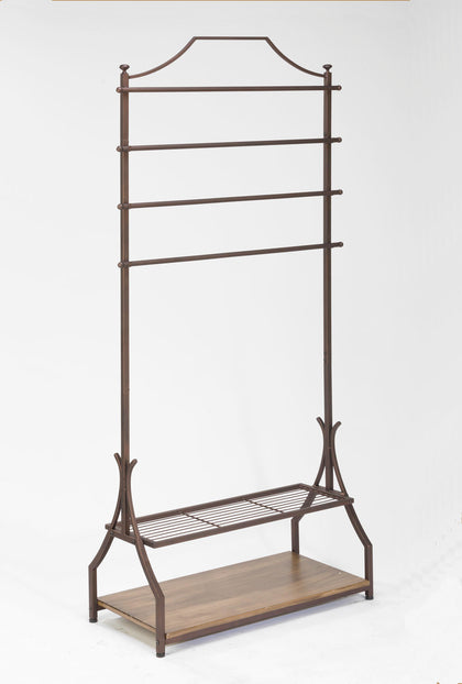 Garment Rack w/ Wood Veneer Base - Bronze
