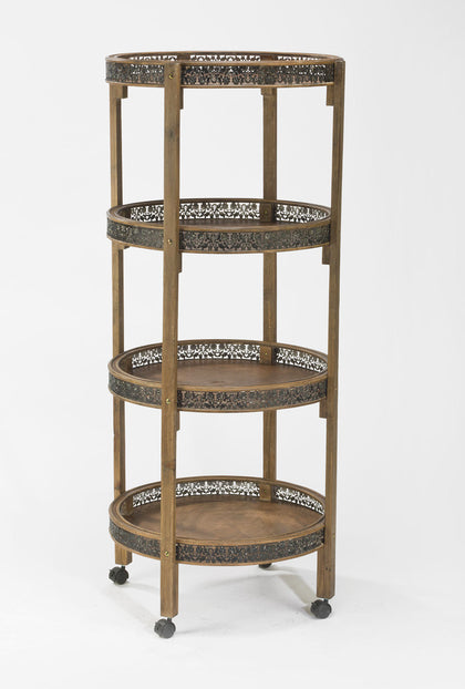 Tall 4-Tier Round Wood Display