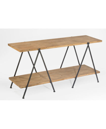 2-Tier Wooden Plank Table w/ A-Frame Legs