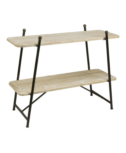 2- TIER WHITEWASHED FIR WOOD SHELVING DISPLAY