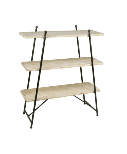 3-TIER WHITEWASHED FIR WOOD SHELVING DISPLAY