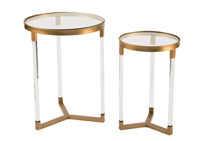Acrylic Side Tables w/ Gold Accents - Set/2