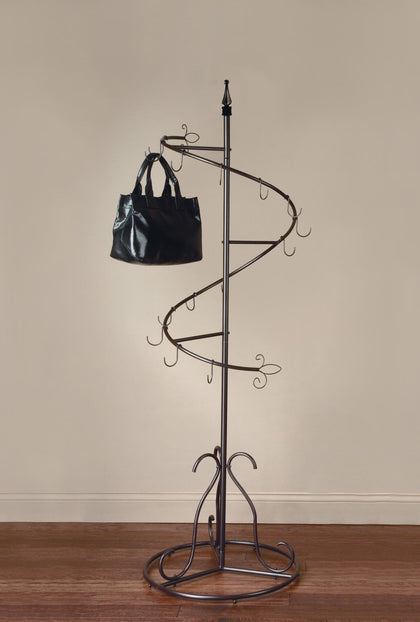 Metal Classic Spiral Purse Display Rack - Brown