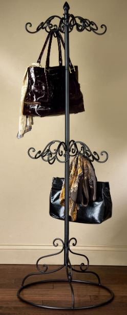 2 Tier Coat or Purse Rack - Black