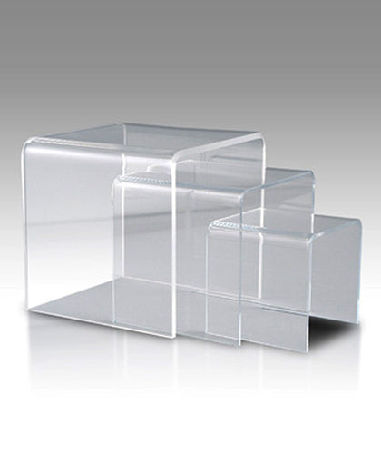 Clear Acrylic Display SET of 3  Risers of  6 Inch, 8 Inch, 10 Inch, 1/8 Inch (T)
