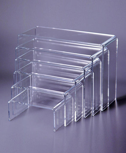 Clear Acrylic Display SET of 6 Risers of 4 Inch to 7 Inch High, 3/16 Inch thick