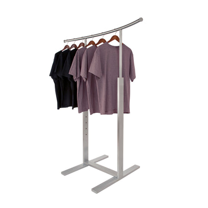 Bauhaus Adjustable Single Bar C-Shaped Clothing Display -  Satin Chrome