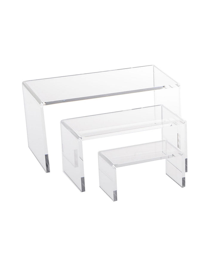 Set of 3 Clear Acrylic Riser Display