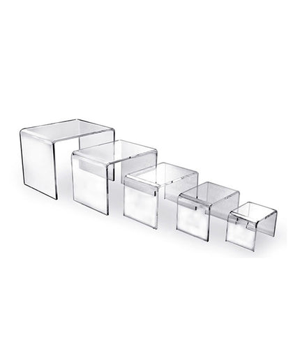 Set of 5 Acrylic Display Risers, U-Shaped Stands, 5 Different Sized Fixtures