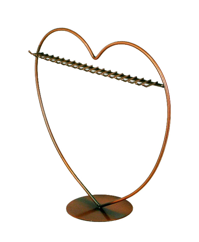 Antique Heart Style Earring Display - Brown/Copper
