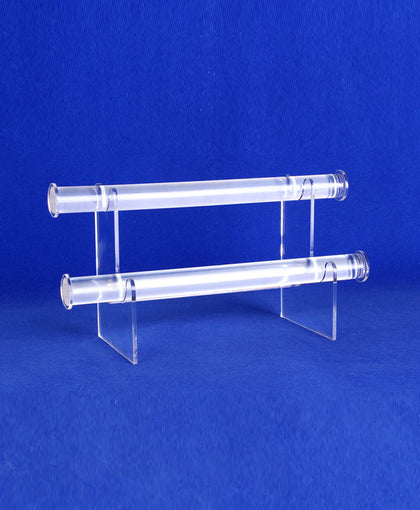 2 Tier Bracelet Display, 1 Inch Diameter Bar, Clear Acrylic Plastic Construction