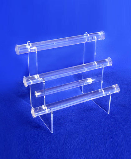 3 Tier Bracelet Display, 1 Inch Diameter Bar, Clear Acrylic Plastic Construction