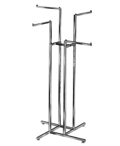 Satin Chrome 4-Way Garment Rack with Four 16
