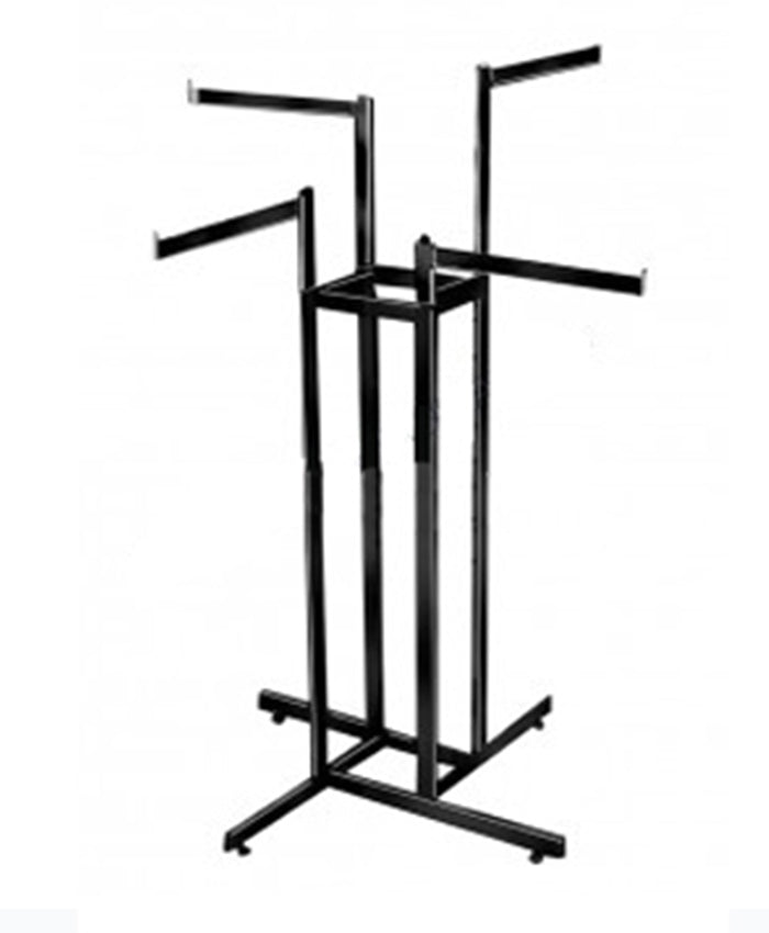 4-Way Garment Rack with Straight Blade Arms - Matte Black Finish