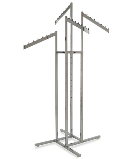 Chrome 4-Way Garment Rack with Four 16