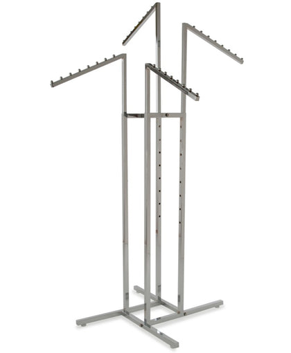 Chrome 4-Way Garment Rack with Four 18