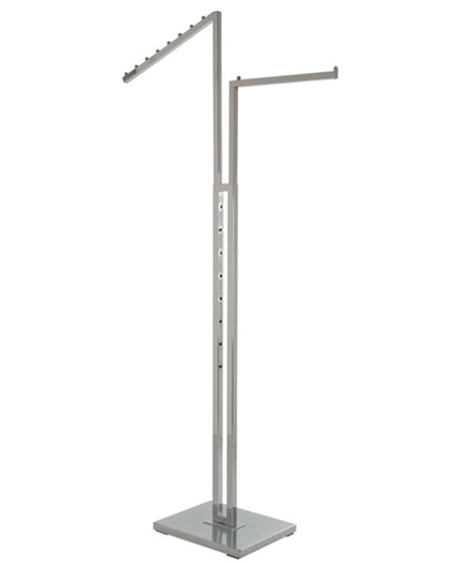 Chrome 2-Way Garment Rack with Square Tubing, 1 Straight Arm, and 1 Slanted Arm with 8 Waterfall Balls.