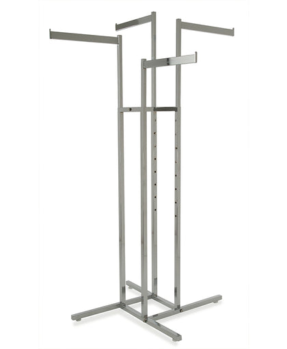 Rectangular Tubing 4 Way Rack w/ 4 Straight Arms - Satin Chrome