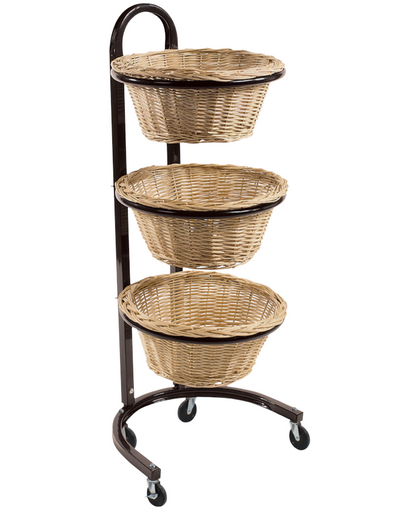 3-TIER ROUND WICKER BASKET DISPLAY; OVERALL: 20