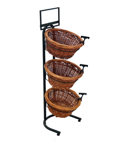 3-Tier Round Willow Stackable Basket Rack Counter Display - Bread, Food Pastries Bowl Display