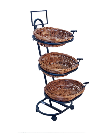 3-Tier Oval Willow Stackable Basket Rack Counter Display - Bread, Food Pastries Bowl Display