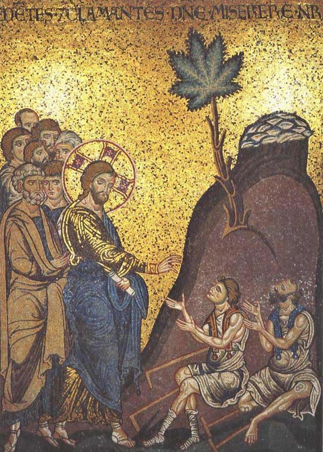 "Miracle, miracles, cannabis, marijuana, weed, herb,""Jesus Healing the Blind"", Basilica Catedrale di Santa Maria Nouva di Monreale, King William II of England, 1177 AD."