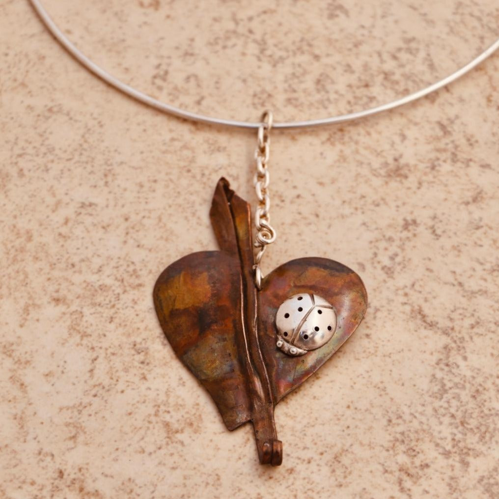Ladybug and Heart Necklace