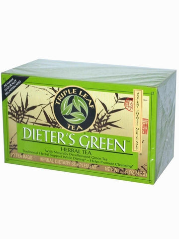 Dieters Green Herbal Tea, Triple Leaf Tea, Herbal Tea, 20 bolsitas de te.