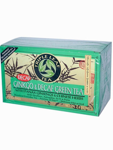 Ginkgo & Decaf Green Tea, Triple Leaf Tea, Herbal Tea, 20 bolsitas de te.